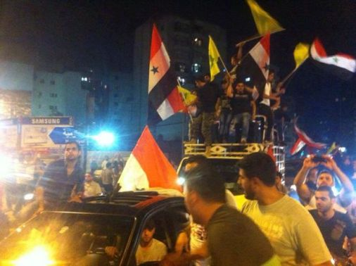 Hezbollah supporters celebrating 'victory' in Qusayr